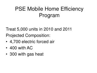 PSE Mobile Home Efficiency Program