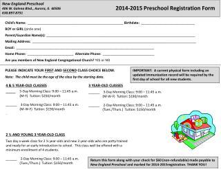 New England Preschool  406 W. Galena Blvd., Aurora, IL  60506 630.897.8731