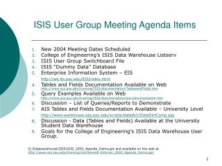 ISIS User Group Meeting Agenda Items