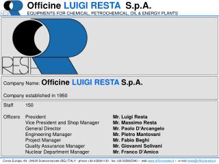 Staff150 OfficersPresident Mr. Luigi Resta