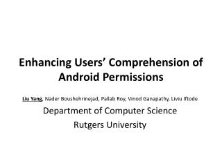 Enhancing Users' Comprehension of Android Permissions