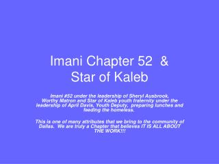 Imani Chapter 52  &  Star of Kaleb