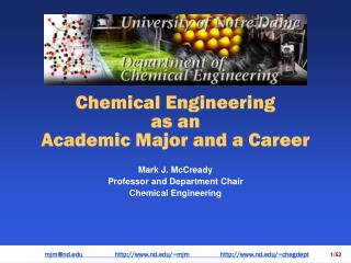 Chemical Engineering  as an Academic Major and a Career