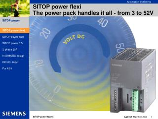 SITOP power flexi The power pack handles it all - from 3 to 52V