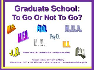 Graduate School: To Go Or Not To Go? Not To Go?