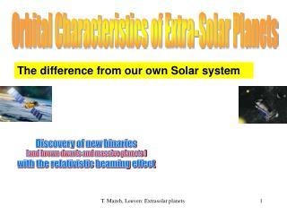 Orbital Characteristics of Extra-Solar Planets