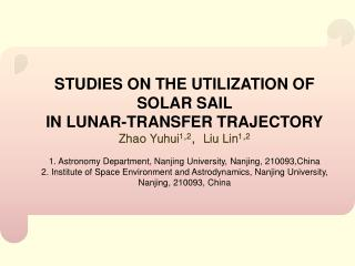 STUDIES ON THE UTILIZATION OF SOLAR SAIL  IN LUNAR-TRANSFER TRAJECTORY