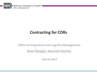 Contracting for CORs