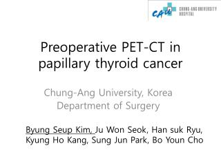 Preoperative PET-CT in papillary thyroid cancer