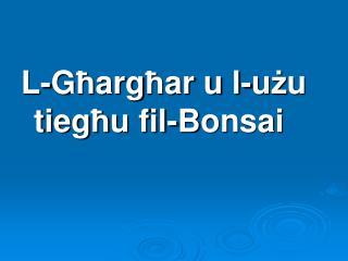 L-G ħ arg ħ ar u l-u ż u     tieg ħ u fil- B onsai