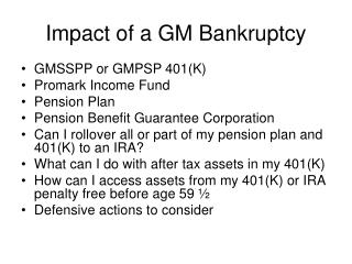 Impact of a GM Bankruptcy