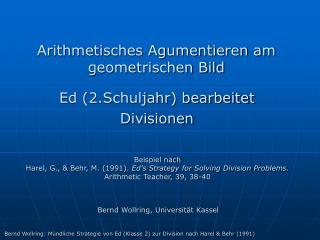 Arithmetisches Agumentieren am geometrischen Bild