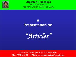 "A Presentation on ""Articles"""