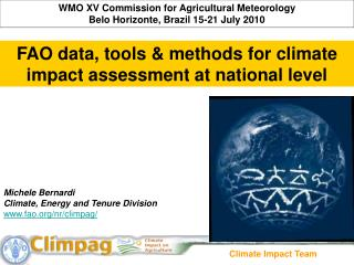 WMO XV Commission for Agricultural Meteorology Belo Horizonte, Brazil 15-21 July 2010