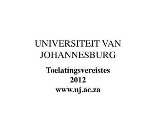 UNIVERSITEIT VAN JOHANNESBURG