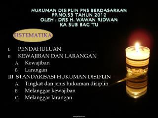 HUKUMAN DISIPLIN PNS BERDASARKAN  PP.NO.53 TAHUN 2010  Oleh :  Drs H. wawan ridwan Ka sub bag tu