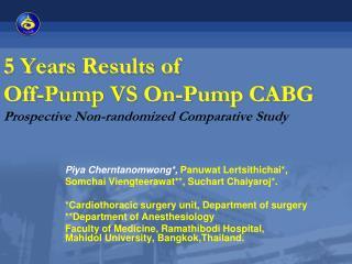 5 Years Results of  Off-Pump VS On-Pump CABG Prospective Non-randomized Comparative Study