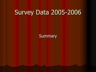 Survey Data 2005-2006
