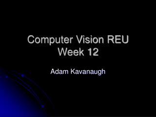 Computer Vision REU Week 12