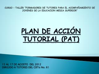 PLAN DE ACCI�N TUTORIAL (PAT)