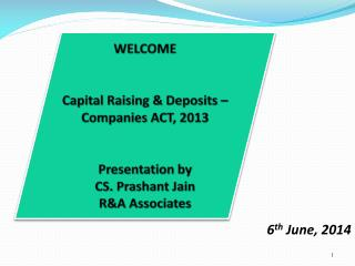 WELCOME Capital Raising & Deposits – Companies ACT, 2013 Presentation by CS. Prashant Jain