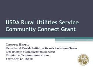 USDA Rural Utilities Service  Community Connect  Grant