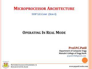 Operating In Real Mode