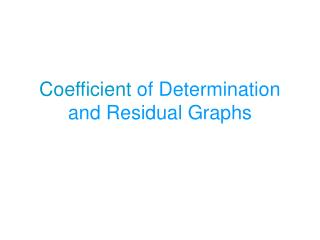Coefficient  of Determination and Residual Graphs