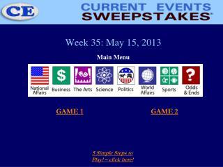 Week 35: May 15, 2013