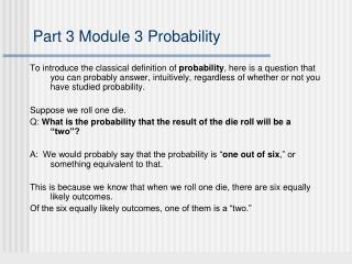 Part 3 Module 3 Probability
