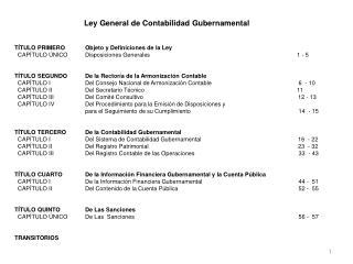Ley General de Contabilidad Gubernamental TÍTULO PRIMEROObjeto y Definiciones de la Ley
