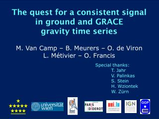 The  quest  for a consistent signal  in  ground and GRACE  gravity time  series