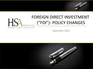 Foreign direct investment  (�FDI�)- Policy changes