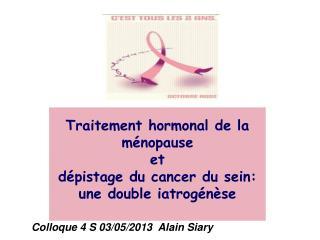 Traitement hormonal de la ménopause et  dépistage du cancer du sein: une double iatrogénèse