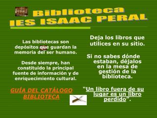 Biblioteca IES ISAAC PERAL
