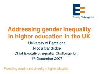 Addressing gender inequality in higher education in the UK