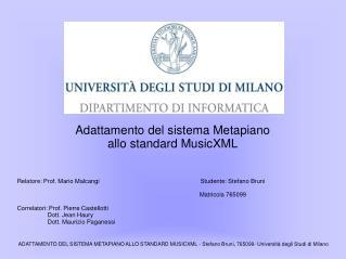 Adattamento del sistema Metapiano allo standard MusicXML