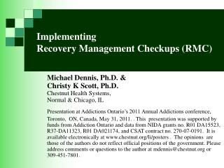 Implementing  Recovery Management Checkups (RMC)