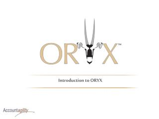 Introduction to ORYX