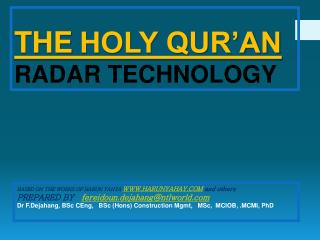 THE HOLY QUR'AN  RADAR TECHNOLOGY