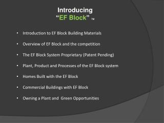 Introduction to EF Block Building Materials Overview of EF Block and the competition