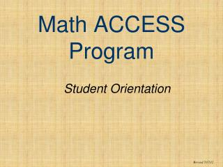 Math ACCESS Program