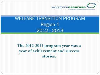 WELFARE TRANSITION PROGRAM Region 1 2012 - 2013
