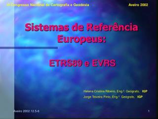 Sistemas de Referência Europeus: