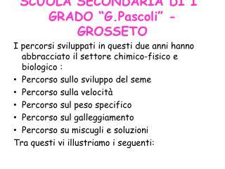 """SCUOLA SECONDARIA  DI I°  GRADO """" G.Pascoli """" - GROSSETO"""