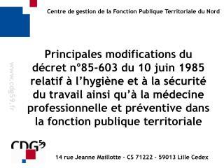14 rue Jeanne Maillotte – CS 71222 - 59013 Lille Cedex