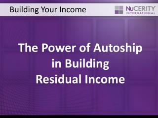 Building Your Income