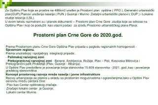 Prostorni plan Crne Gore do 2020.god.