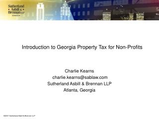 Introduction to Georgia Property Tax for Non-Profits