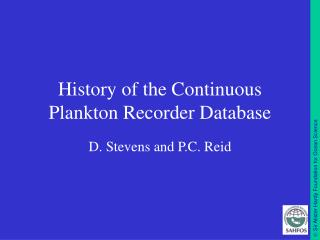 History of the Continuous Plankton Recorder Database